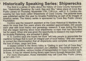 Historically Speaking Series Shipwrecks, South Coast Shopper Nov 17, 2011