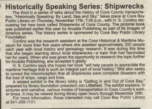 Historically Speaking Series Shipwrecks, South Coast Shopper Nov 17, 2011