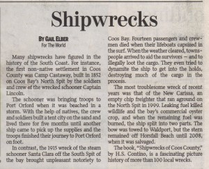 Shipwrecks by Gail Elber, The World Newspaper Sep 10, 2014