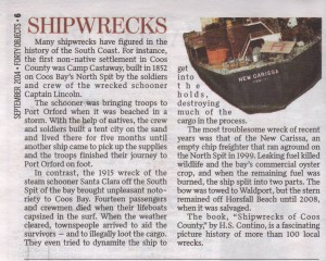 Shipwrecks, Forty Objects Sep 2014 newspaper clipping